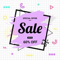 Sale banner Memphis style with geometric shapes. Sale background pastel color create by vector.
