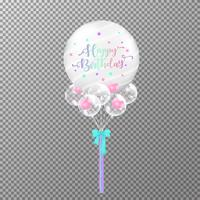 Balloons birthday on transparent background. Realistic big transparent  balloon colorful vector illustration. For decorations birthday party design template.