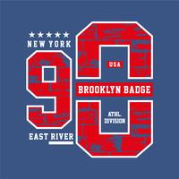 Varsity style, New York Brooklyn athletic sport typography for t shirt print,