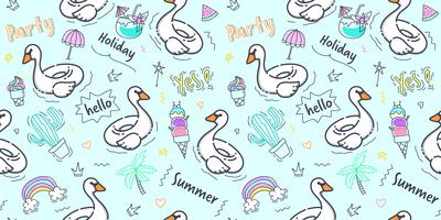 Swan pattern seamless. Hand draw swan pool swim ring with doodle summer element on blue background for kid fabric print, scrapbook, wrapping paper and packaging design. Cute wallpaper in pastel color.