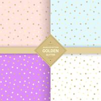 Golden glitter seamless pattern on pastel background. Memphis polka dot background 80's-90's style. Vector Illustration
