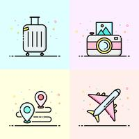 Summer icon collection in pastel color. Travel logo design for social media banner, summer poster and app icon design.