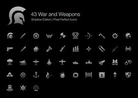 Guerra y armas Pixel Perfect Icons Shadow Edition. vector