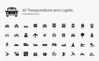 40 Trasporti e icone logistiche Pixel Perfect.