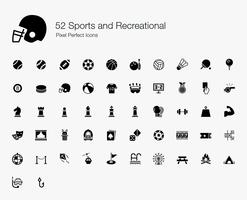 52 Sports and Recreational Pixel Perfect Icons.