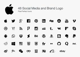 48 sociala medier och varumärkeslogo.