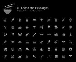 Foods and Beverages Pixel Perfect Icons Shadow Edition.