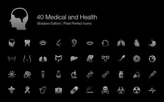 Medical and Health Human Organs and Body Parts Pixel Perfect Icons Shadow Edition.