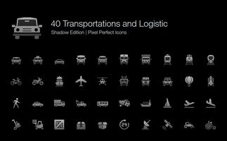 Transportation and Logistic Pixel Perfect Icons Shadow Edition.