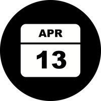 13 aprile Data su un calendario per un solo giorno