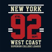 New York West Coast typografie ontwerp tee