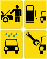 Car service, fuel station, auto repair - vector icon set
