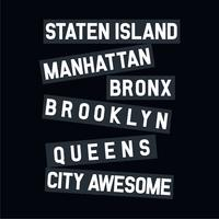 NYC line typography for tee shirt design,