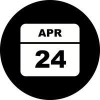24 aprile Data su un calendario per un solo giorno