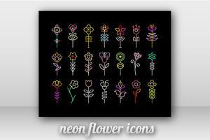 Icone di vettore del fiore al neon