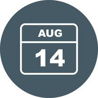 August 14th Date on a Single Day Calendar