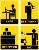Cafe, Restaurant, Taxi, Rezeption - Schilder