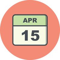 April 15th Date on a Single Day Calendar