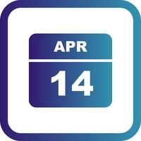 April 14th Date on a Single Day Calendar