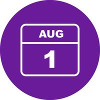 August 1st Date on a Single Day Calendar