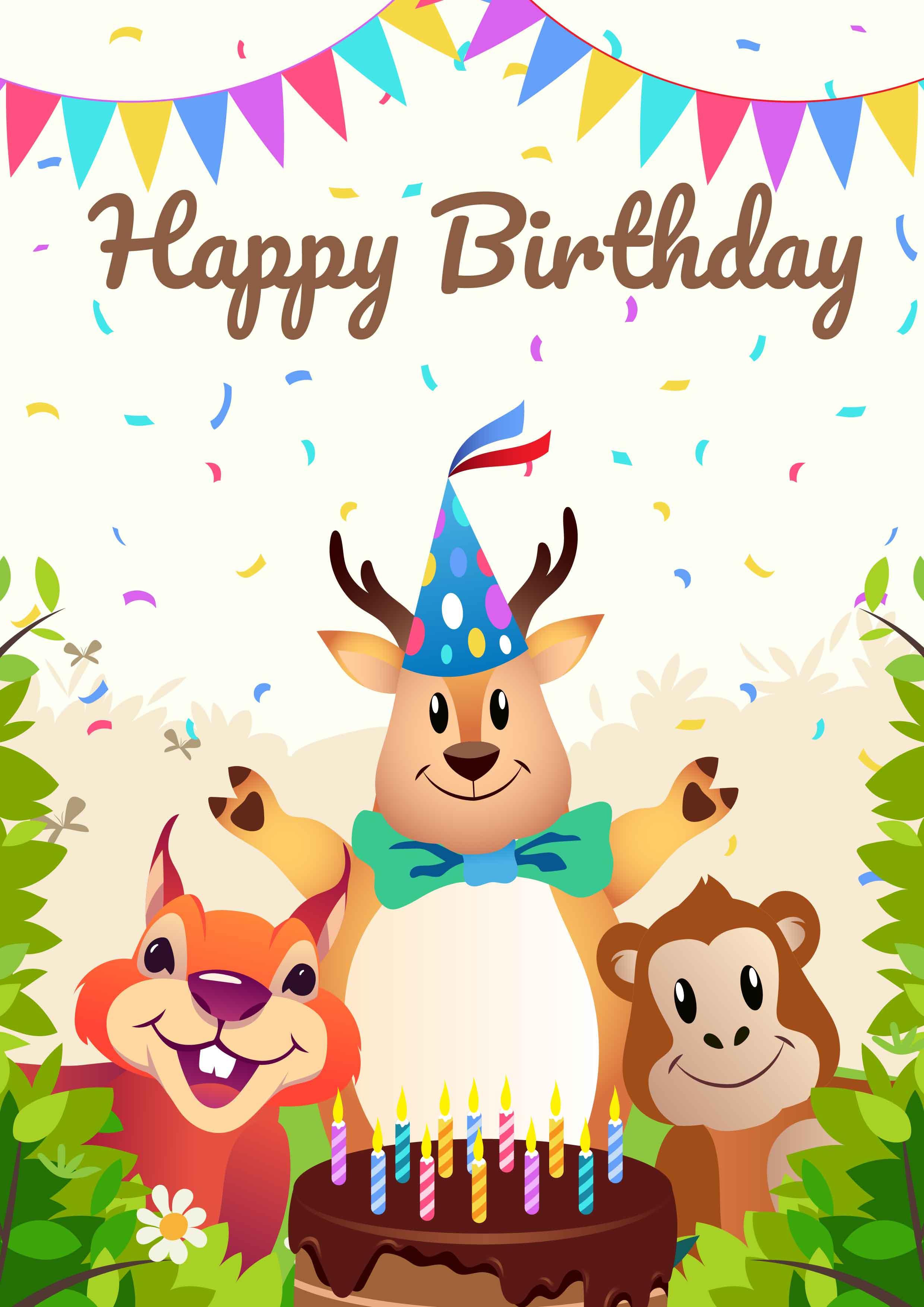 Happy Birthday Animals Party Download Free Vectors Clipart Graphics Vector Art
