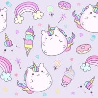 Kawaii unicorn sticker collection in pastel color. Cute doodle clip art for scrapbook. Unicorn cartoon sticker for kid.