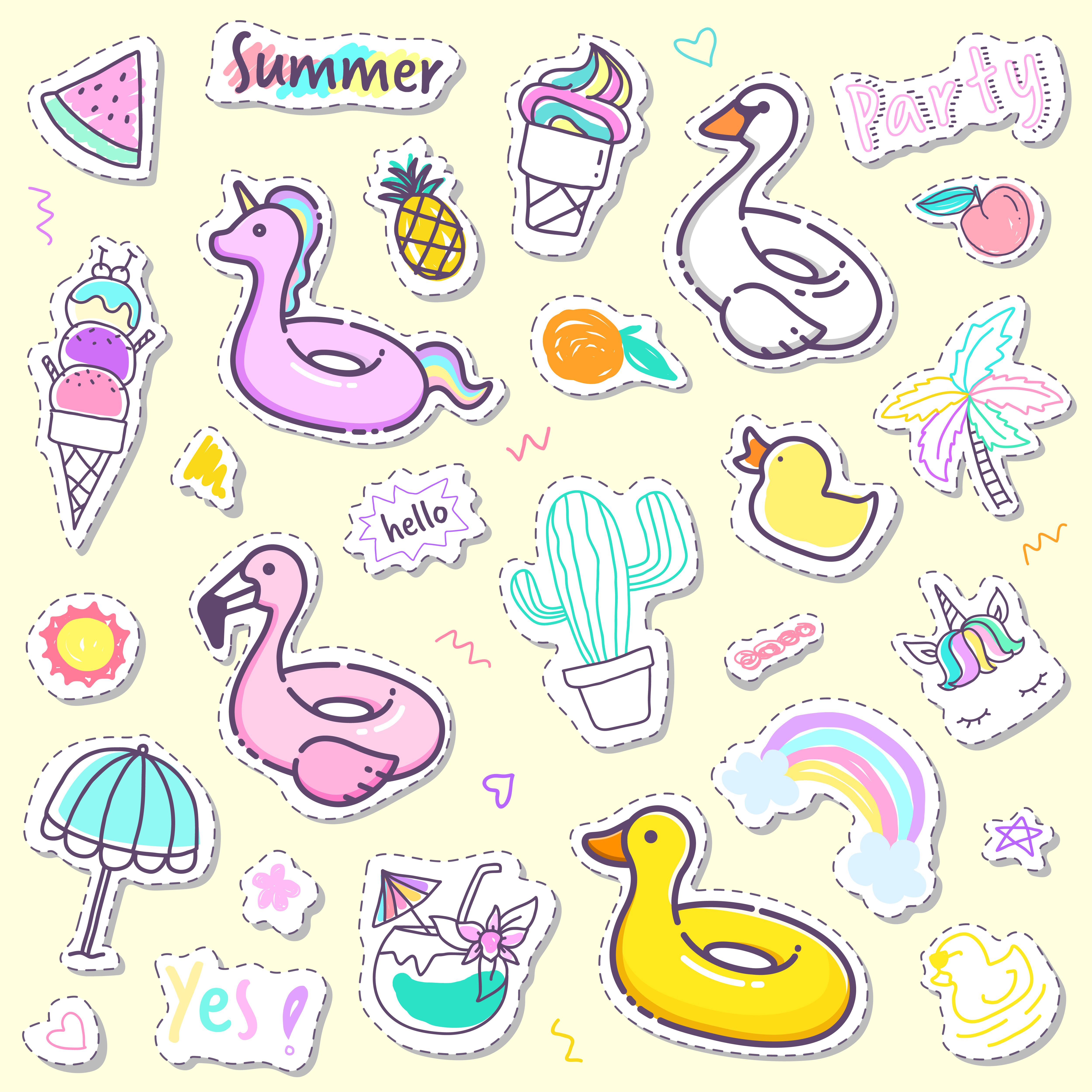 061f74579c Collezione di adesivi estivi carini in colori pastello. - Scarica gratis  arte vettoriale, elementi grafici di repertorio e immagini