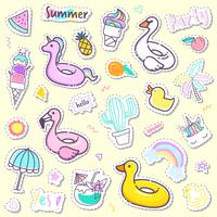 Cute summer sticker collection in pastel color.