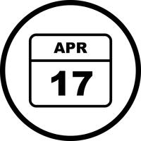April 17th Date on a Single Day Calendar