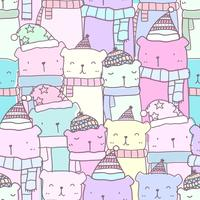 Seamless pattern with hand drawn cute bear family in pastel color. Kawaii background for kid.