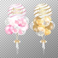Birthday balloons on transparent background. Realistic Pink and Golden glossy balloon vector illustration. For decorations birthday party design template.