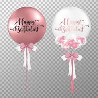 Birthday balloons on transparent background. Realistic Rose gold and white glossy helium balloon vector illustration. For decorations birthday party design template.