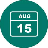 August 15th Date on a Single Day Calendar