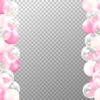 Realistic balloons frame with transparent background. Pink and white party balloons vector for decorations wedding, birthday, celebration and anniversary card design.