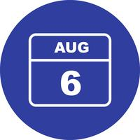 August 6th Date on a Single Day Calendar