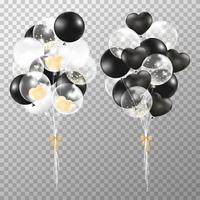 Balloons on transparent background. Realistic glossy black, golden and transparent balloon vector illustration. Party balloons decorations wedding, birthday, celebration and anniversary.