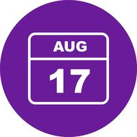 August 17th Date on a Single Day Calendar