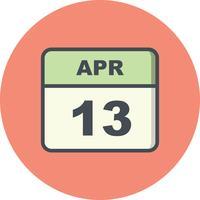 13. April Datum an einem Tageskalender