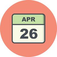 April 26th Date on a Single Day Calendar