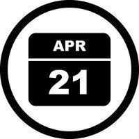 April 21st Date on a Single Day Calendar