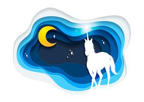 Abstract of unicorn, paper art unicorn concept, Unicorn vector art and illustration.