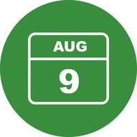 August 9th Date on a Single Day Calendar