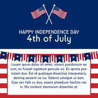 text template 4th of july independence day united states of america in 1 by 1 ratio with american flag