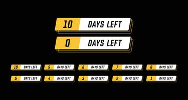 Sport modern horizontal banner coundown number days left set design vector