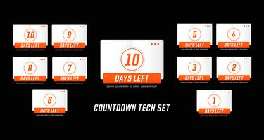 Modern technology mecha design style number days left countdown set vector