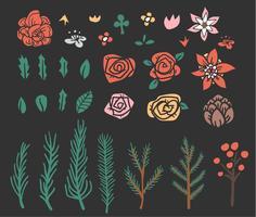 bloem en blad ingesteld