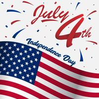 4 July usa happy independence day for social media profile or display picture with big american flag and 3D ribbon vector