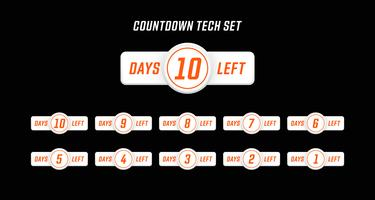 Simple Modern computer design style number days left countdown set vector