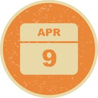 April 9th Date on a Single Day Calendar