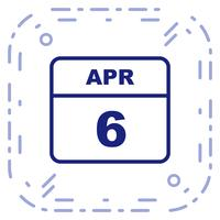 April 6th Date on a Single Day Calendar